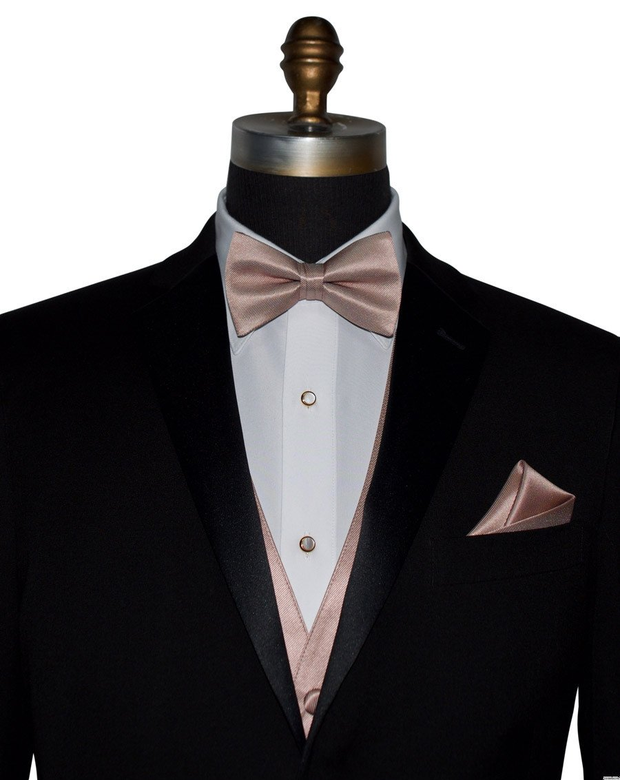 men's rose gold vest with rose-gold pre-tied bowtie