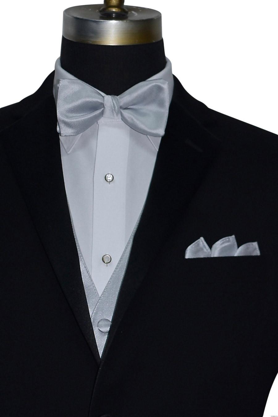 silver pre-tied bowtie close-up