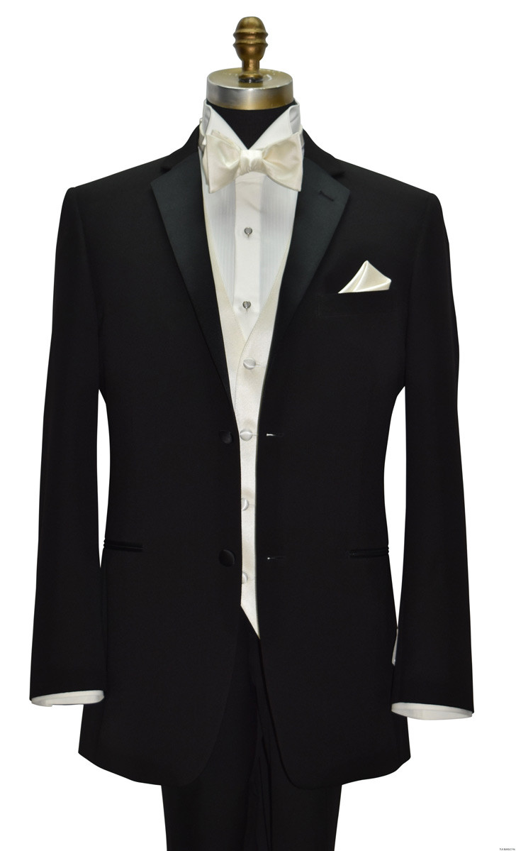 black 2 button tuxedo with off-white ivory vest, bowtie and off-white shirt