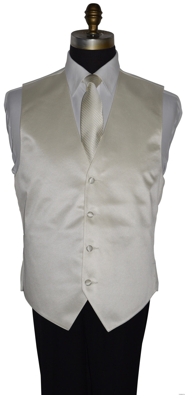 Ivory long dress tie for man and boy with off-white ivory vest at tuxbling.com