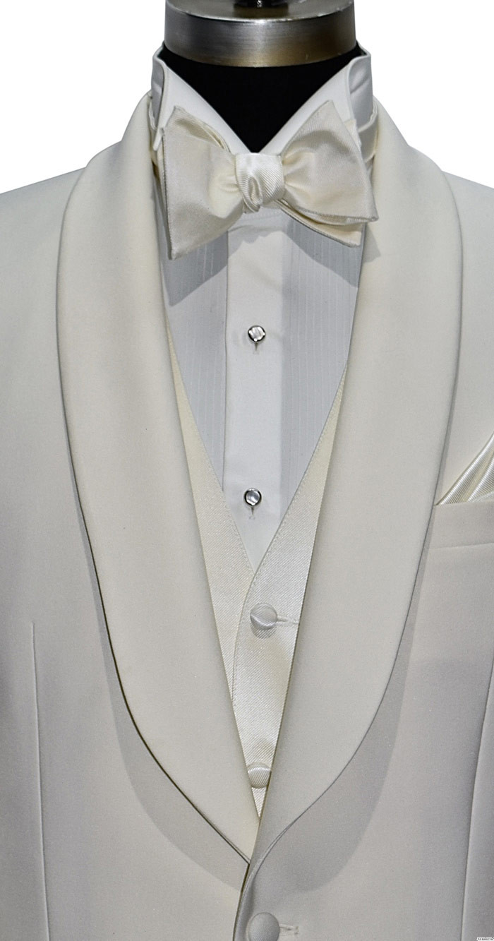 men's ivory shawl collar tuxedo with ivory vest and ivory bowtie by tuxbling.com