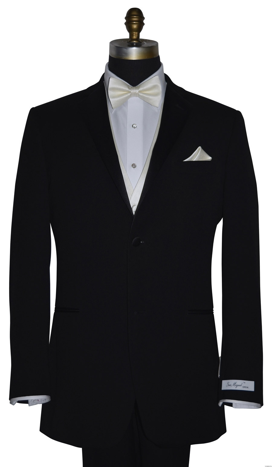 San Miguel black tuxedo with ivory pre-tied bowtie and ivory vest and ivory pocket handkerchief