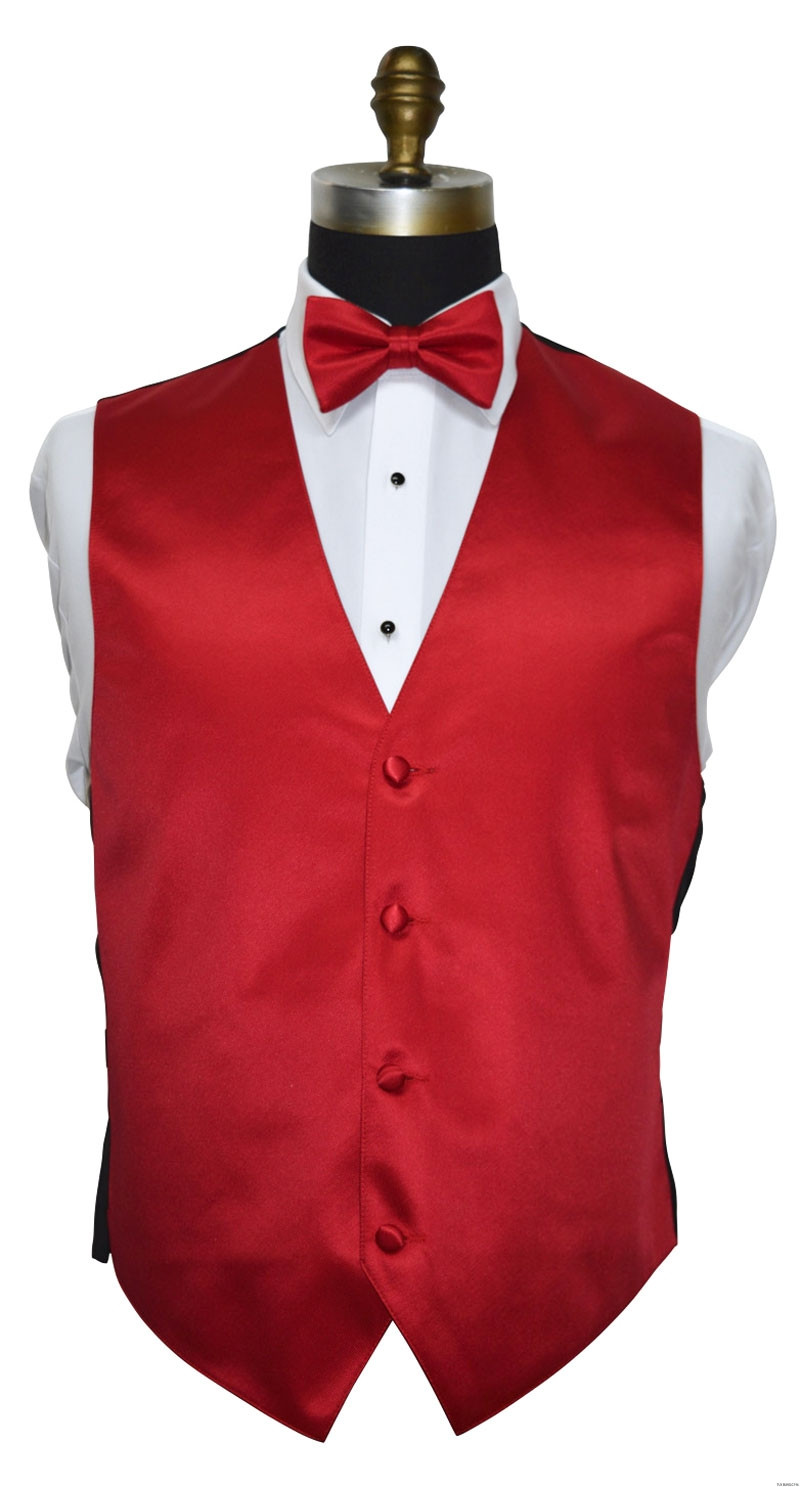 men's and boy's red tuxedo vest with red pre-tied bowtie by San Miguel Formals