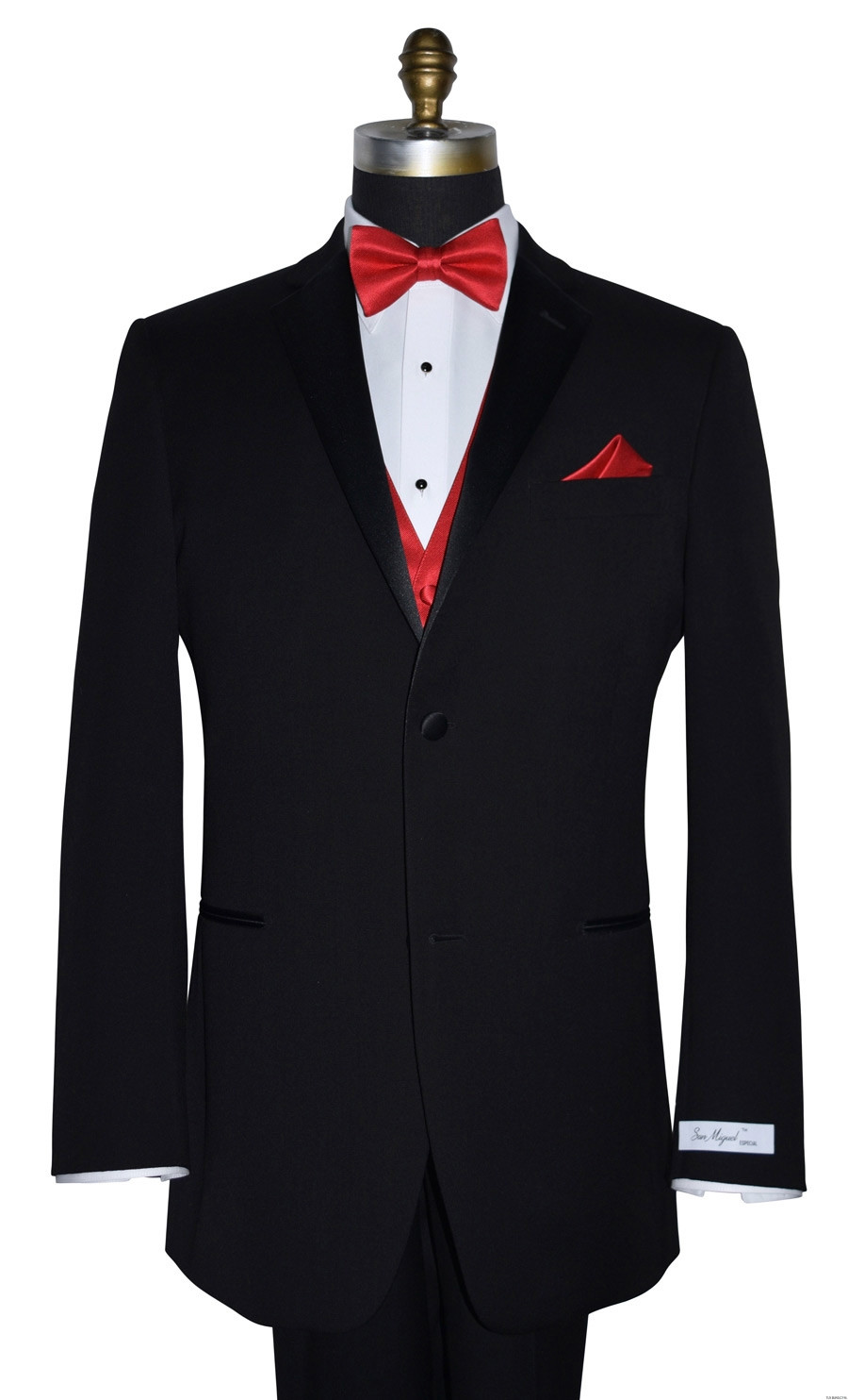 black San Miguel tuxedo with red bowtie and red vest on tuxbling.com