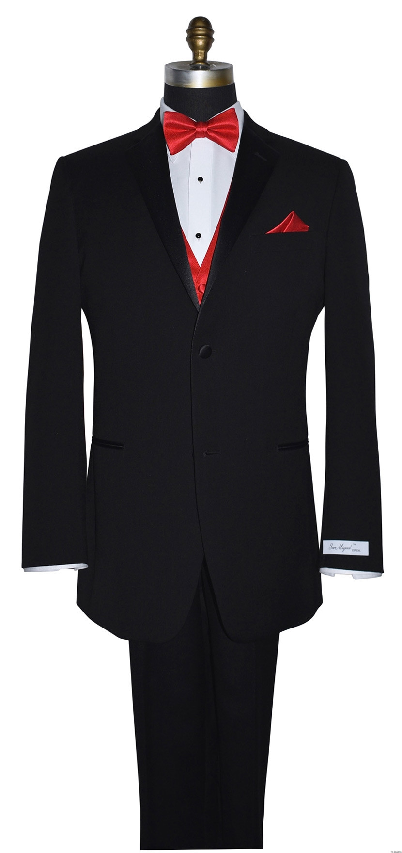ruby red tuxedo vest with ruby red pre-tied bowtie