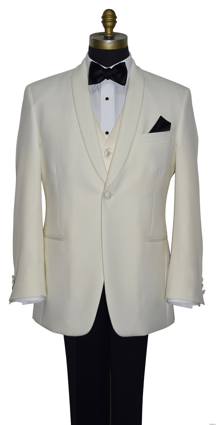ivory dinner jacket with ivory vest by San Miguel Formals with black tie-yourself bowtie and black pocket handkerchief