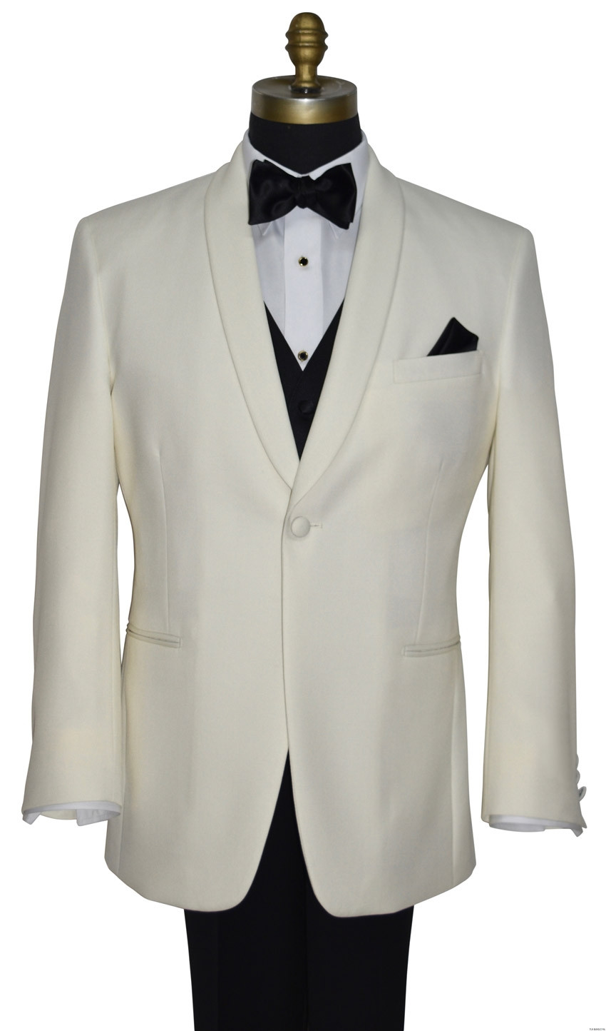 men's ivory dinner jacket with black pre-tied bowtie and black vest by San Miguel Formals