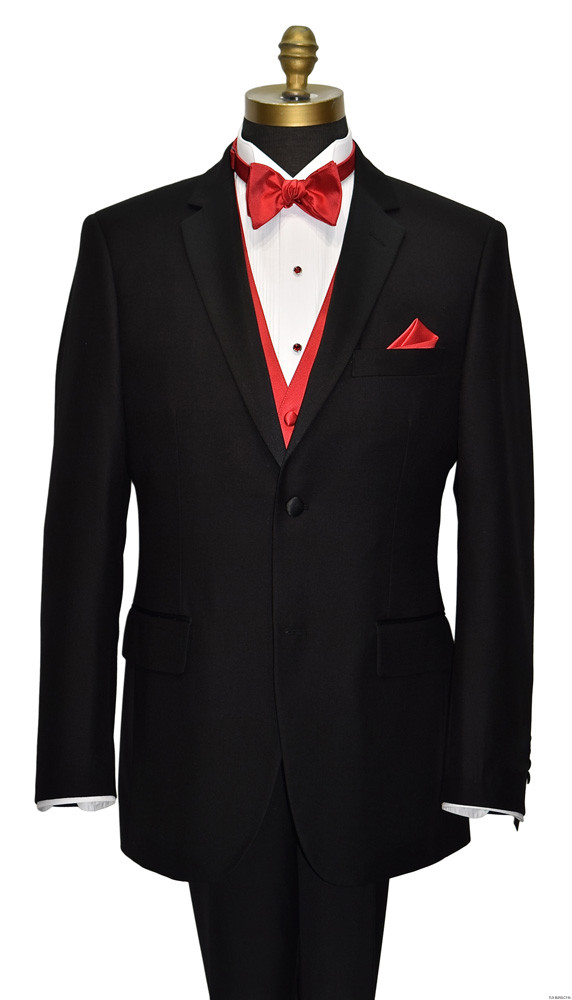 men's black notch lapel tuxedo with red vest and bowtie by San Miguel Formals