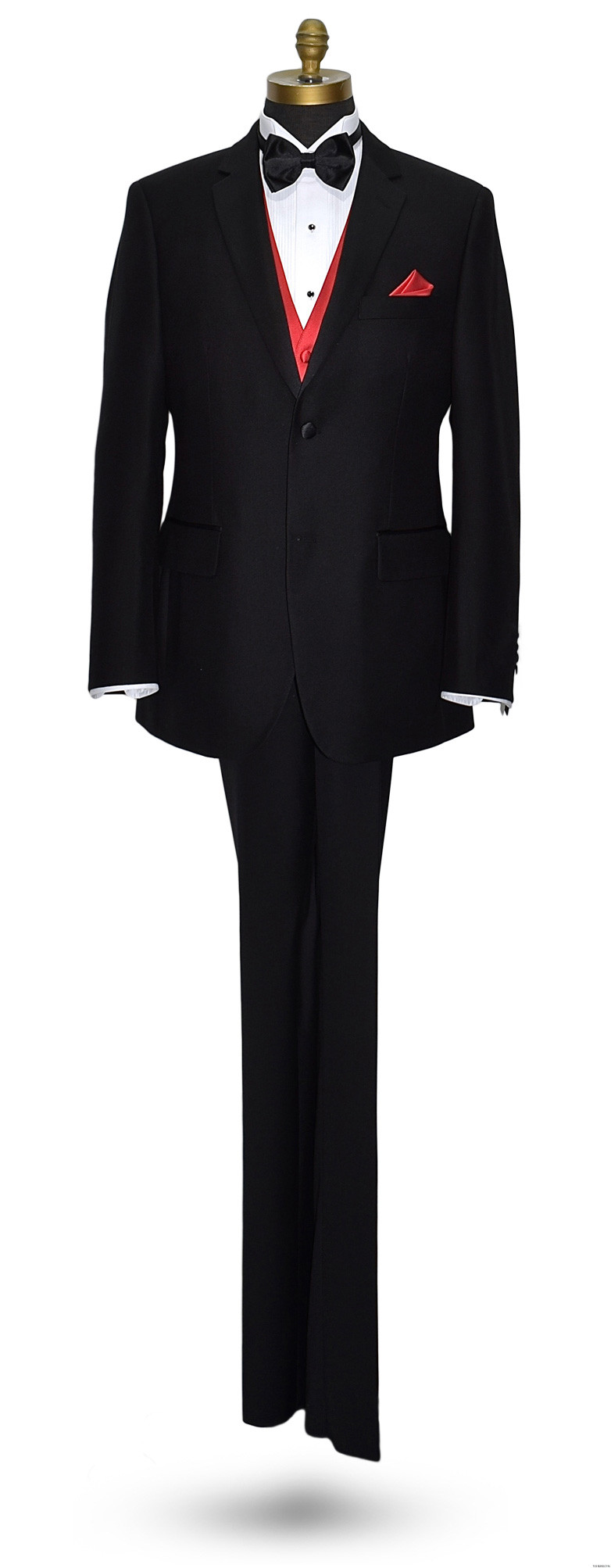 men's black San Miguel tuxedo with red tuxedo vest and red pocket handkerchief
