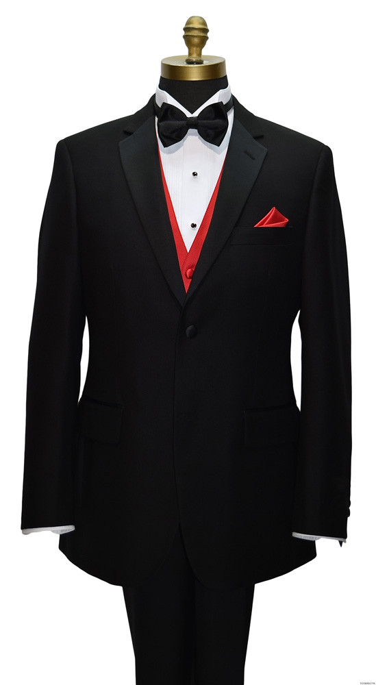 black notch lapel tuxedo with valentina red vest and black bowtie on tuxbling.com