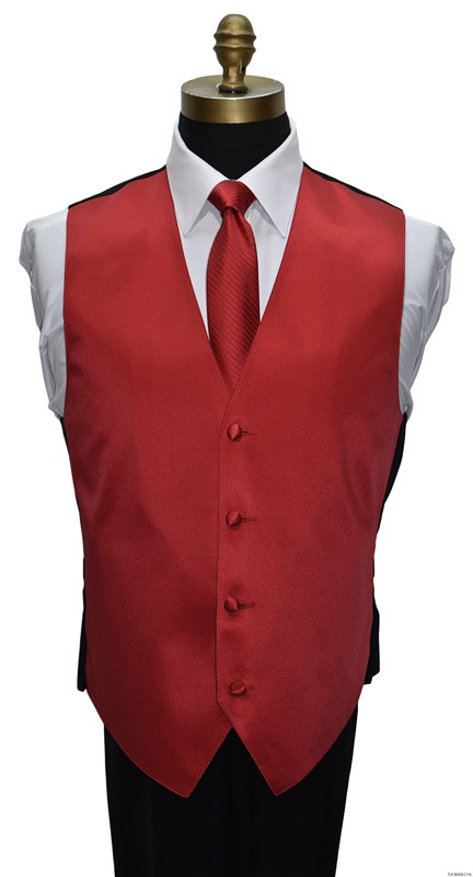 men's and boy's red tuxedo vest with red skinny dress tie by San Miguel Formals