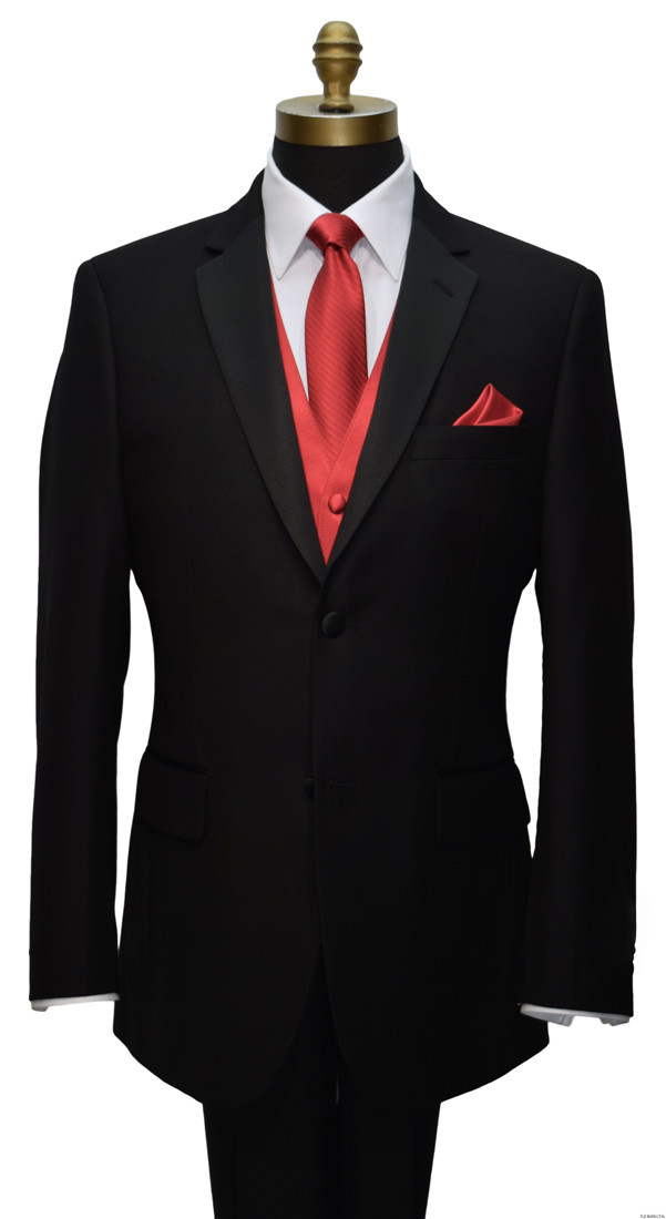 black tuxedo with red skinny tie and red vest