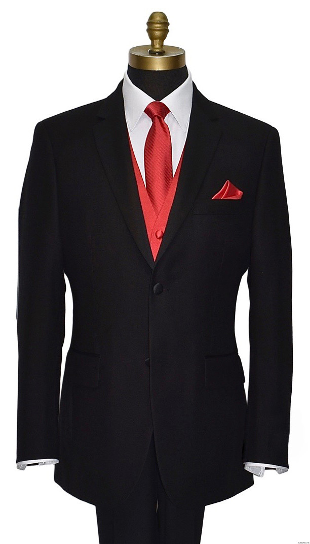 valentina ruby red long striped tie with matching vest and pocket handkerchief by San Miguel Formals