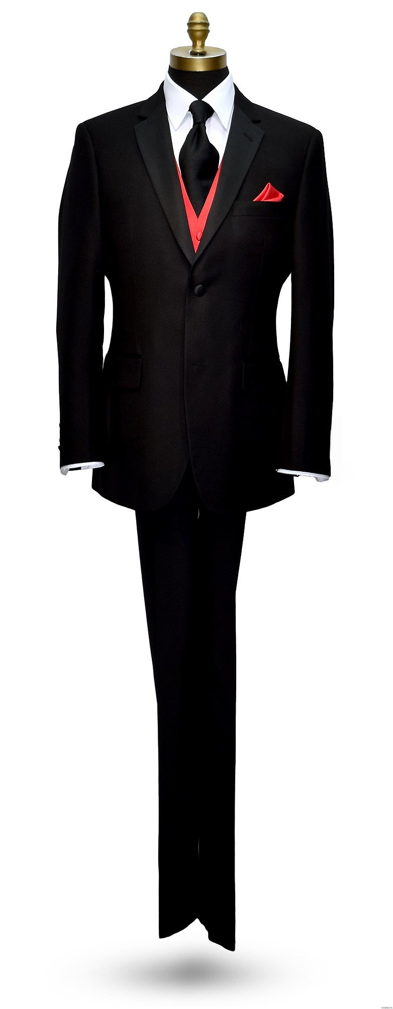 men's red tuxedo vest with long black dress tie on tuxbling.com