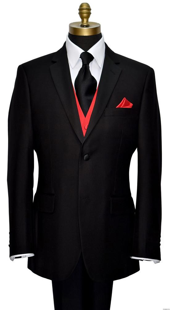 men's black tuxedo with red tuxedo vest with long black dress tie on tuxbling.com