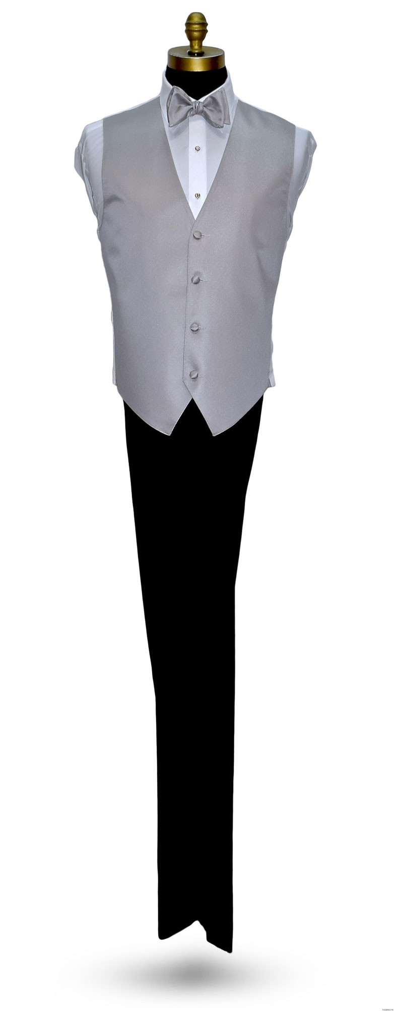 moonlight gray tuxedo vest and bowtie with black tuxedo by San Miguel Formals