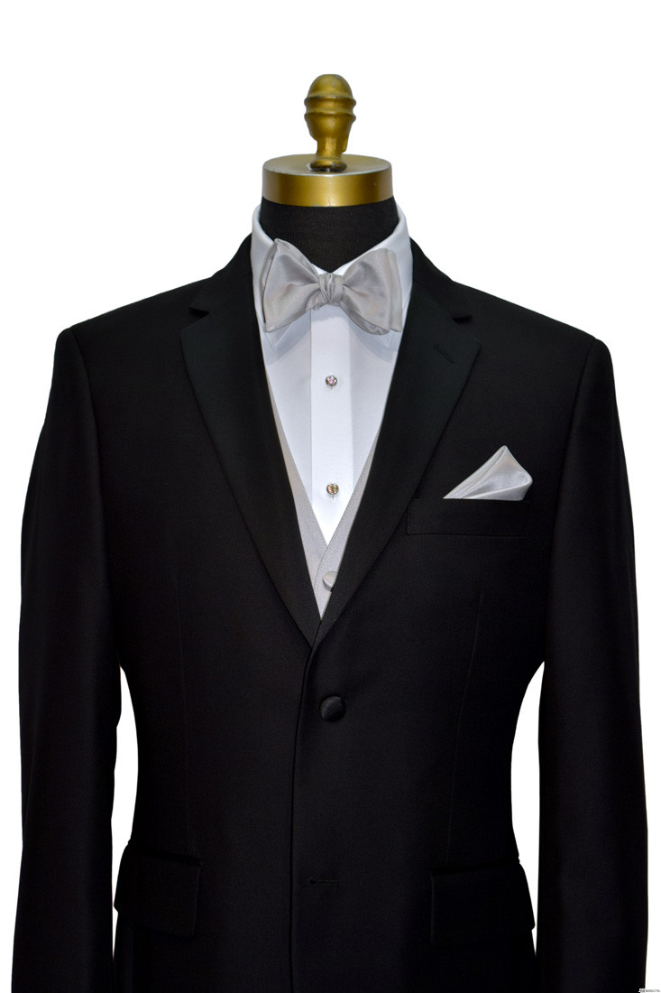 black tuxedo with light gray self-tie bowtie and vest on tuxbling.com