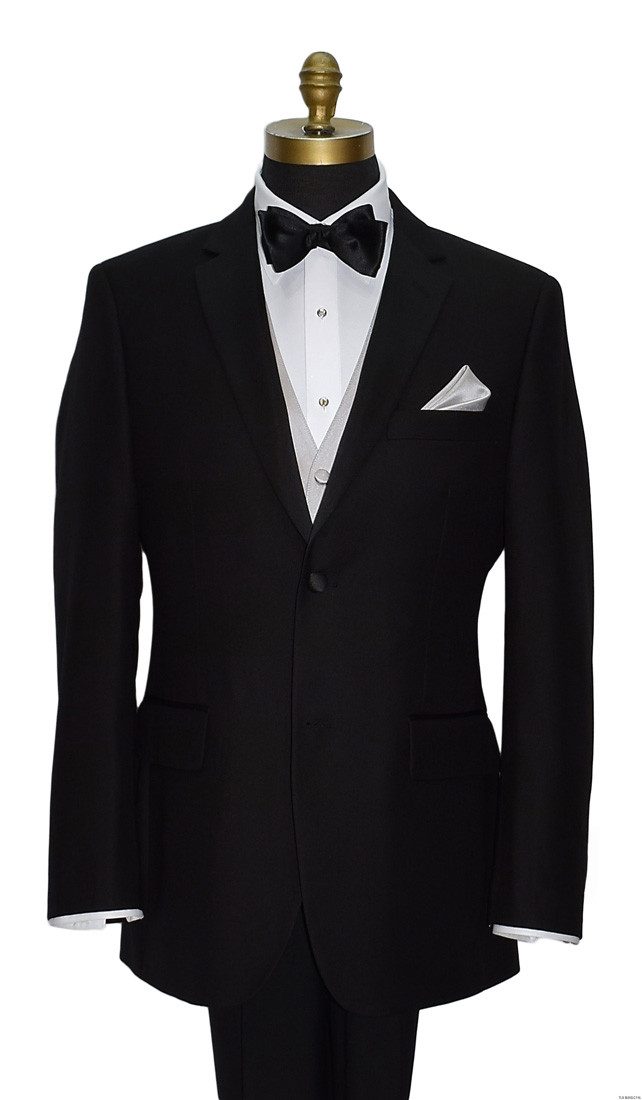 black 2 1/2 inch tie-yourself bowtie with moonlight vest and pocket handkerchief