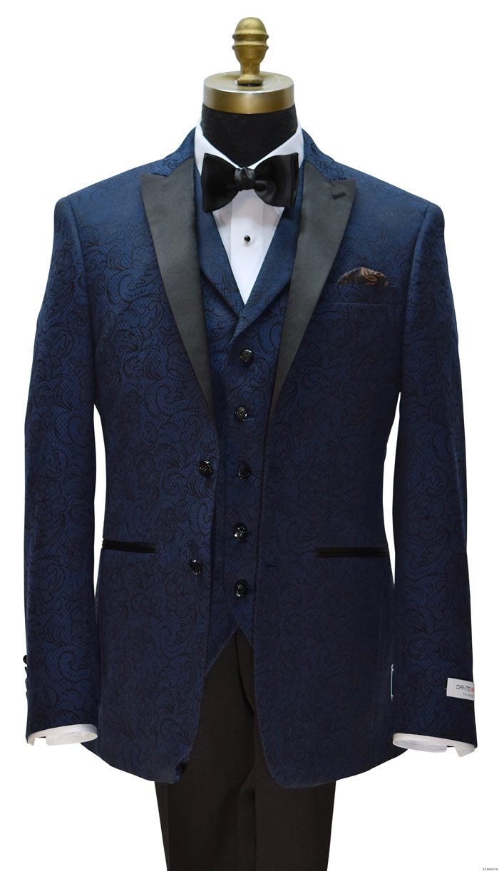 Dante Inferno men's blue paisley tuxedo and vest with black bowtie on tuxbling.com