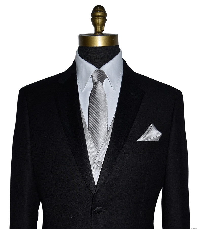 black San Miguel tuxedo with light gray long tie and light gray vest