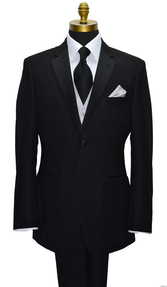 men's light gray vest with long black dress tie and light gray pocket handkerchief on tuxbling.com