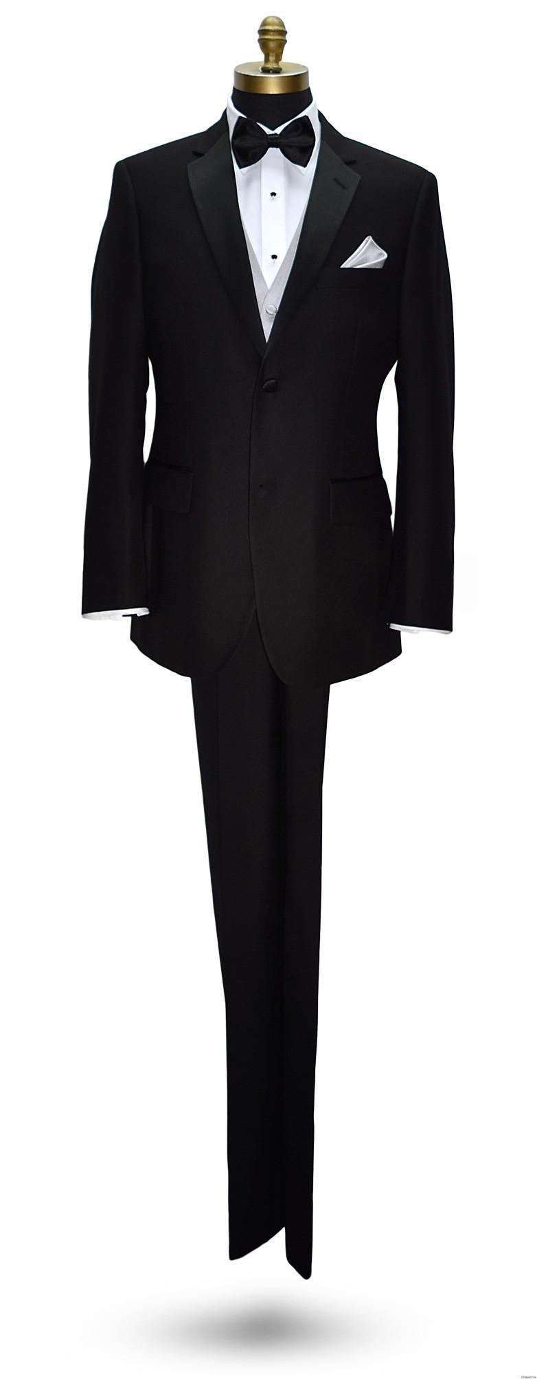 San Miguel black notch lapel tuxedo with light gray vest and black bowtie