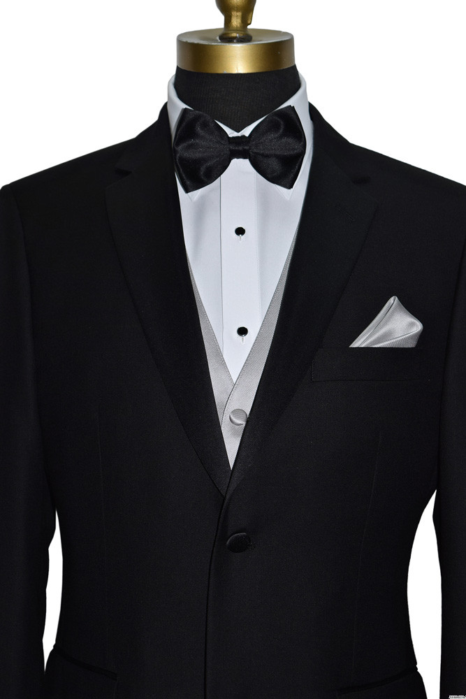 light gray tuxedo vest with black pre-tied bowtie by San Miguel Formals
