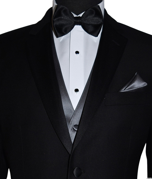 black pre-tied bowtie with charcoal vest and black studs and cufflinks by San Miguel Formals