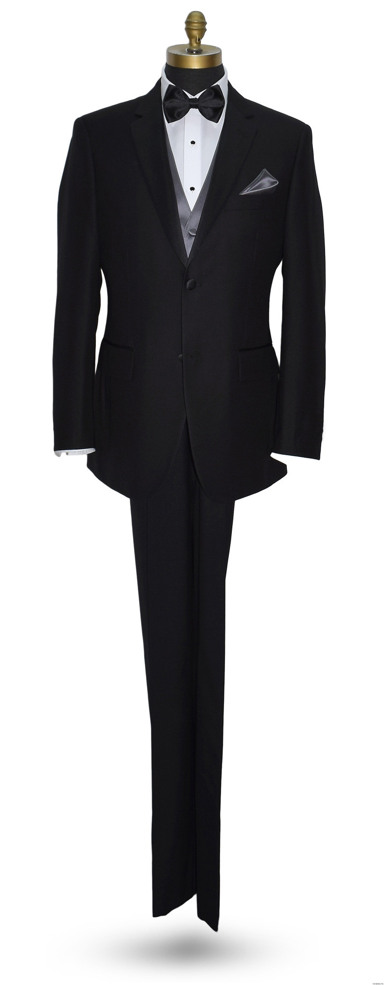 black tuxedo with charcoal vest and black bowtie by San Miguel Formals