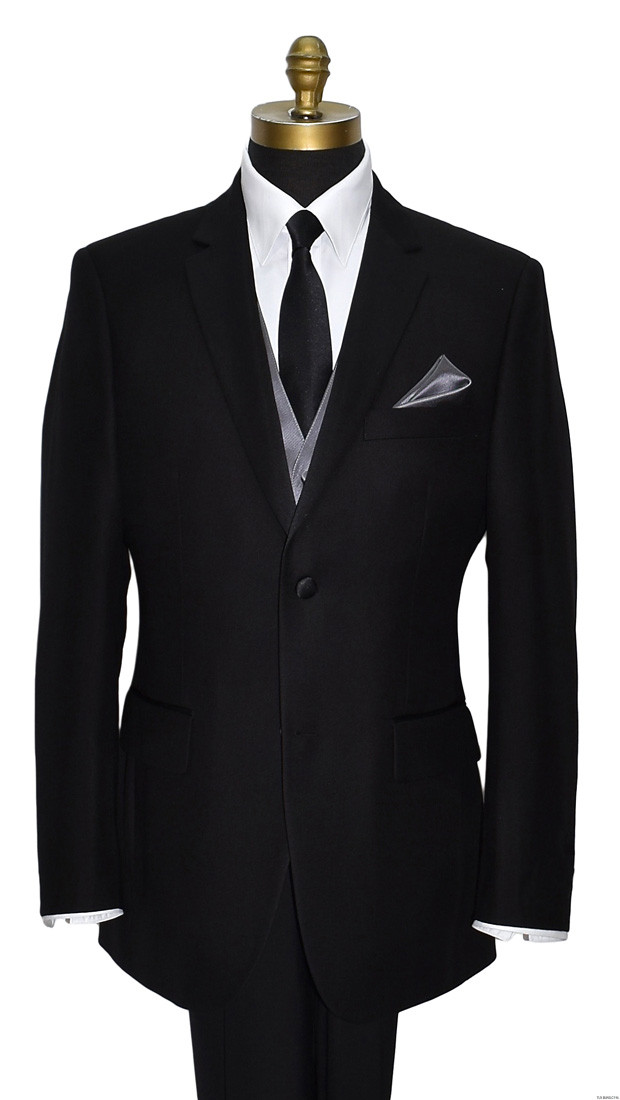 long black satin men's dress tie with charcoal vest by San Miguel Formals