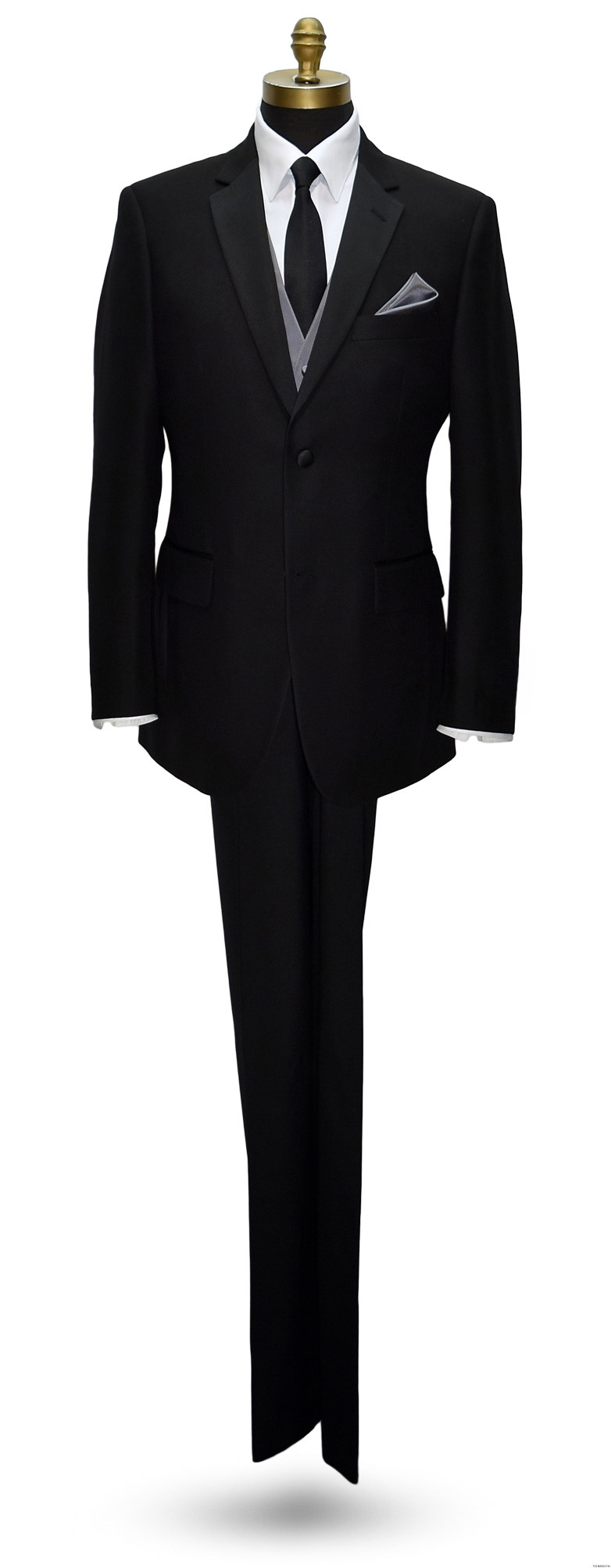 black tuxedo with charcoal vest and long black skinny dress tie