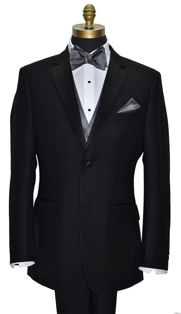 black tuxedo with charcoal vest and bowtie by San Miguel Formals
