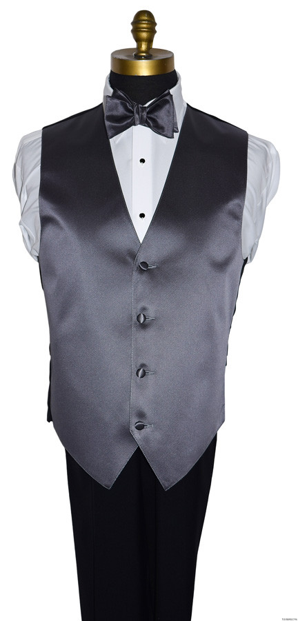 men's charcoal vest with charcoal self-tie bowtie