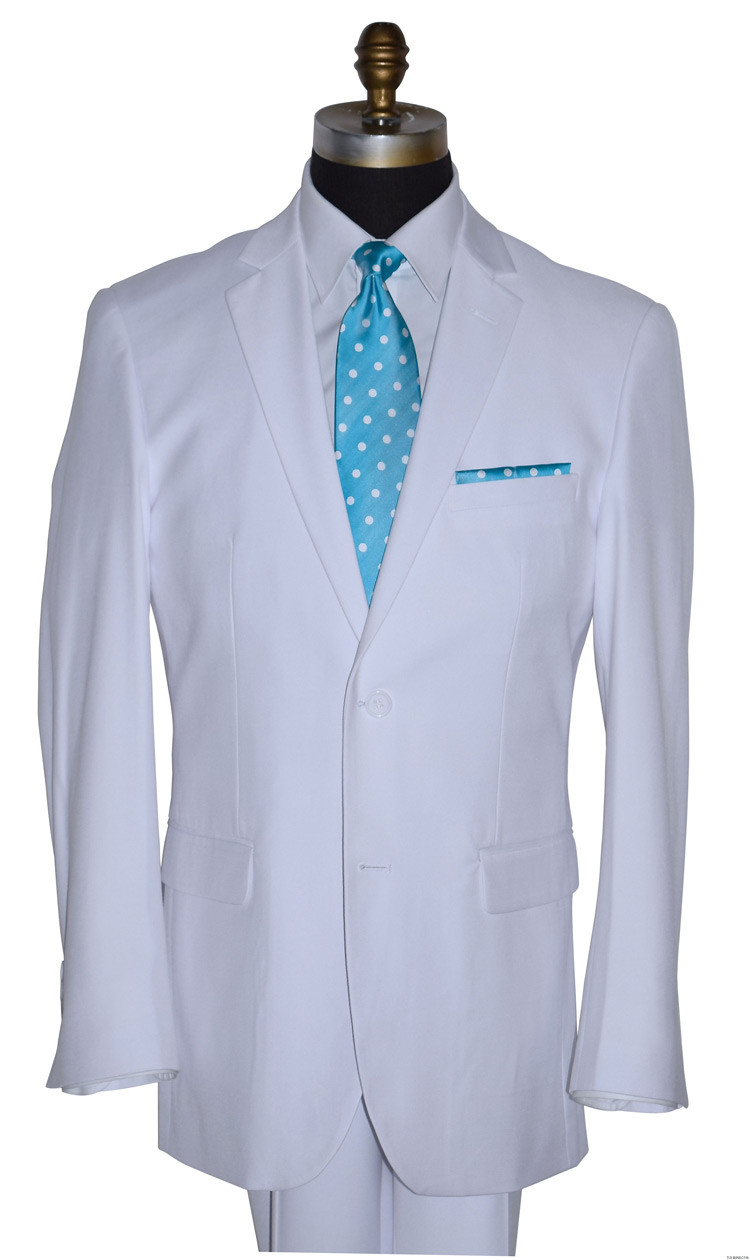 men's turquoise polka dot long dress tie with white suit