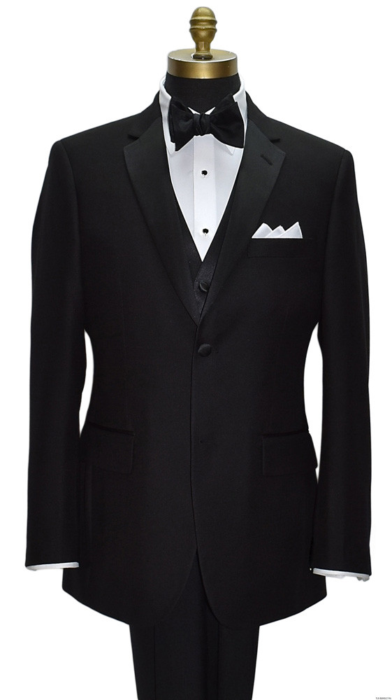 black notch lapel tuxedo with black vest and black tie yourself bowtie by San Miguel Formals