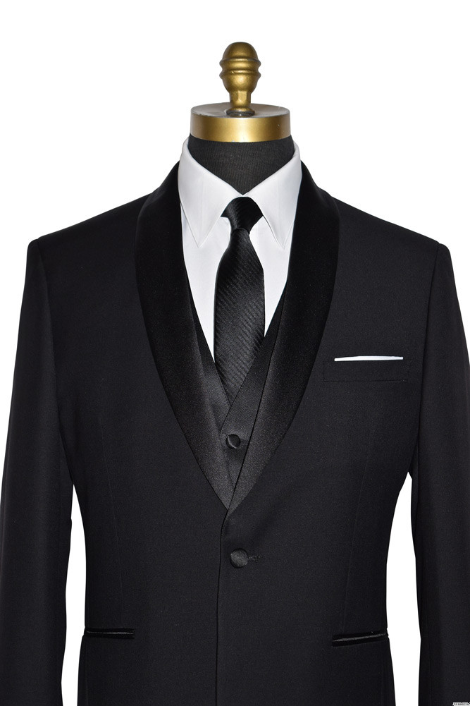 black shawl collar tuxedo with long black tie and black vest at tuxbling.com