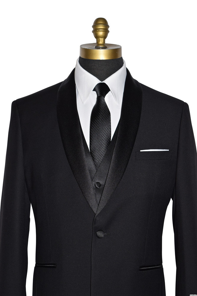 white pocket square with shawl collar tuxedo and black San Miguel Vest