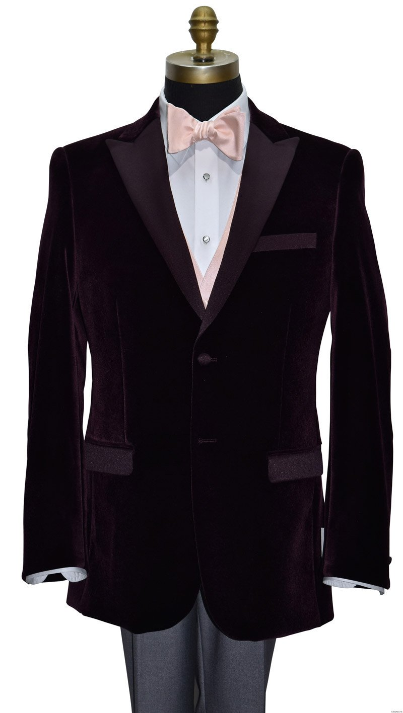 wine velvet tuxedo jacket with blush tie-yourself bowtie by San Miguel Formals