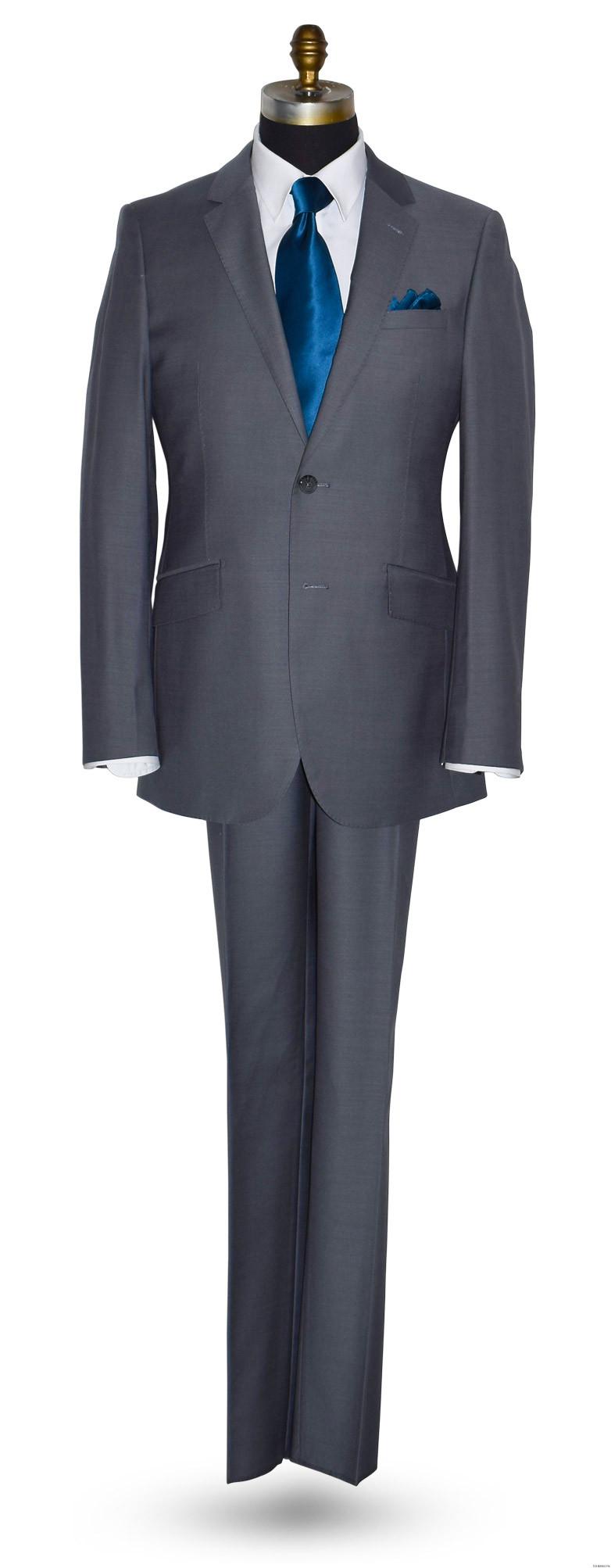men's sapphire blue long tie and light gray suit