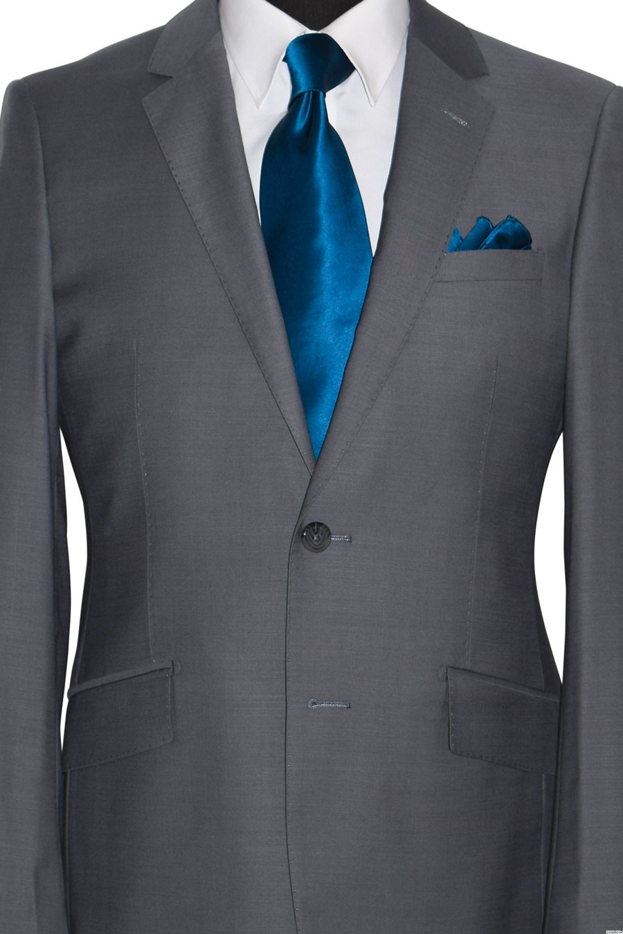 mens gray suit with sapphire-blue silk long dress tie