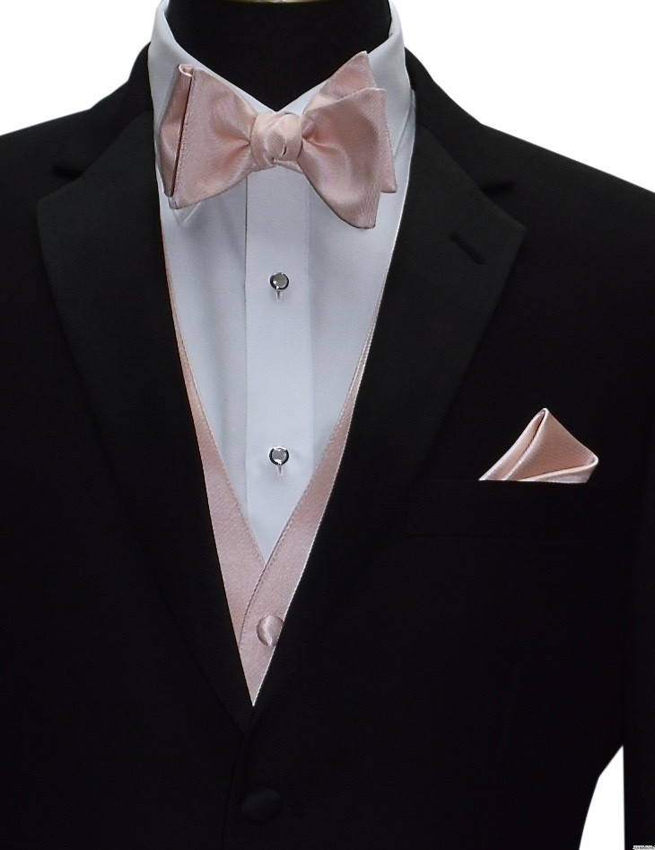 blush vest and bowtie with black tuxedo by San Miguel Formals