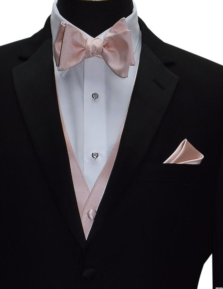 blush pocket handkerchief with blush bowtie from San Miguel Formals