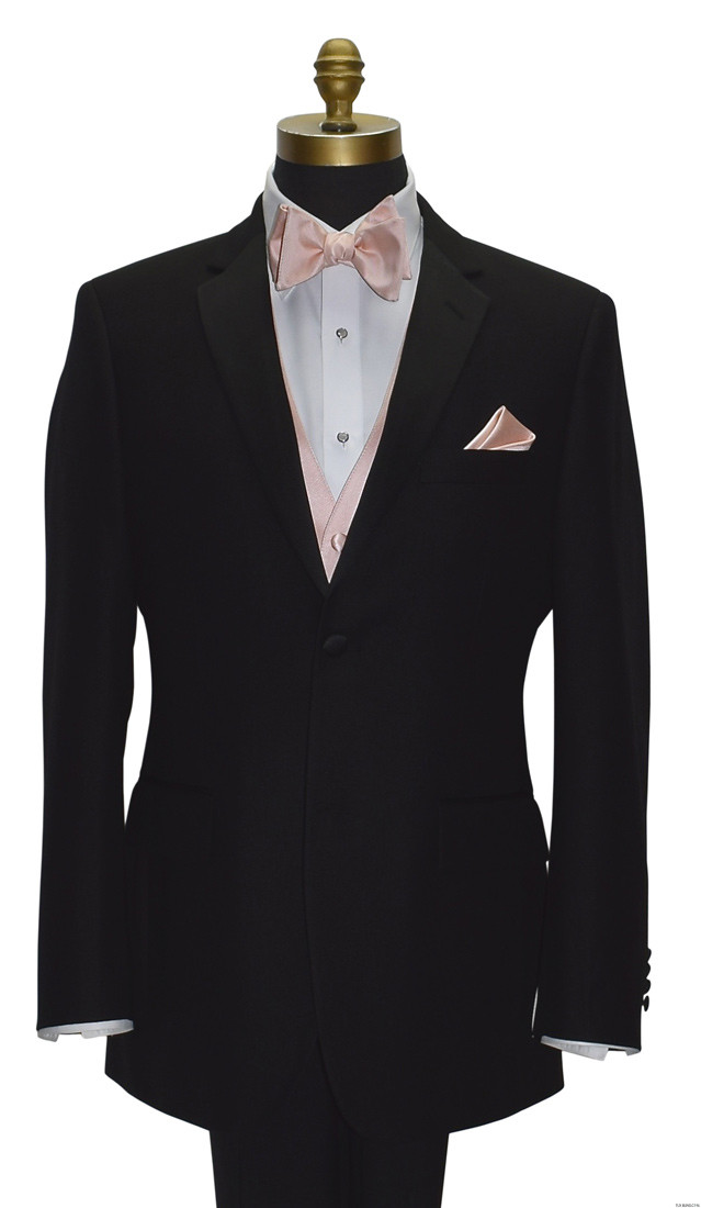 blush tie-yourself bowtie with blush vest for men and boys