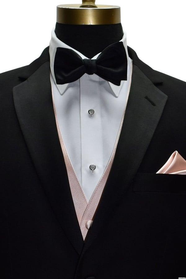 men's blush tuxedo vest with black pre-tied bowtie