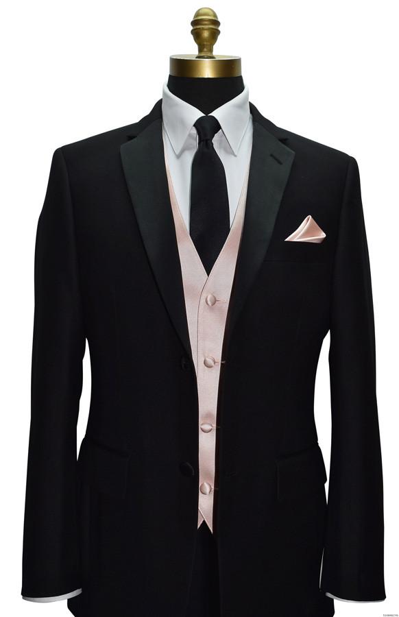 black notch lapel tuxedo with blush vest and long black tie at tuxbling.com