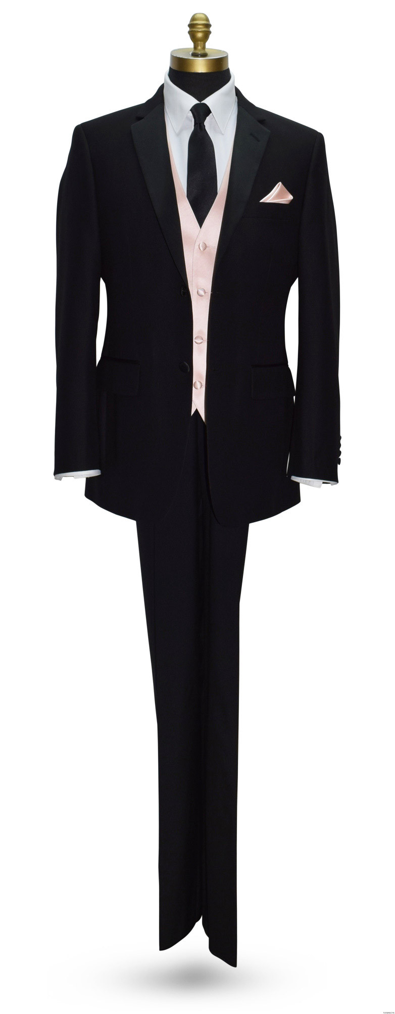 black tuxbling tuxedo with blush vest with black skinny dress tie