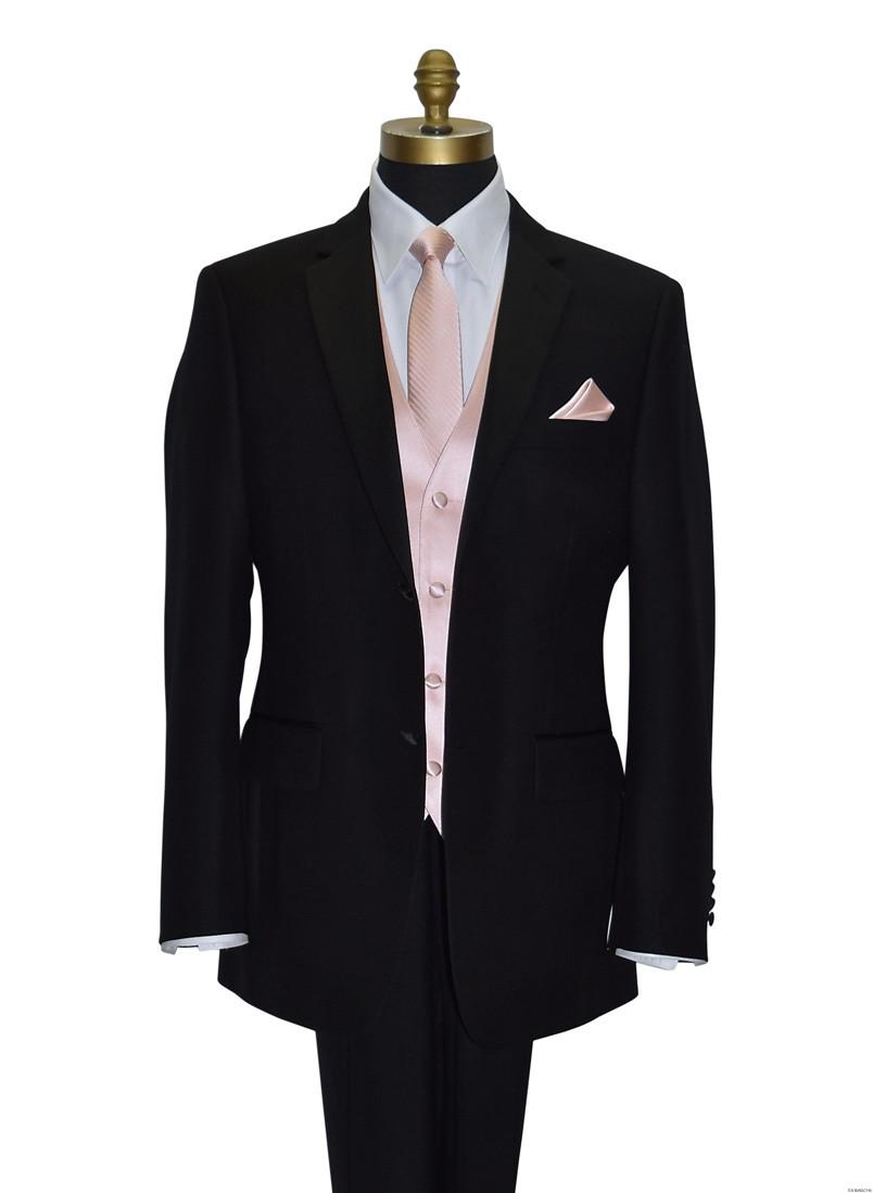 blush long dress tie with blush pocket handkerchief