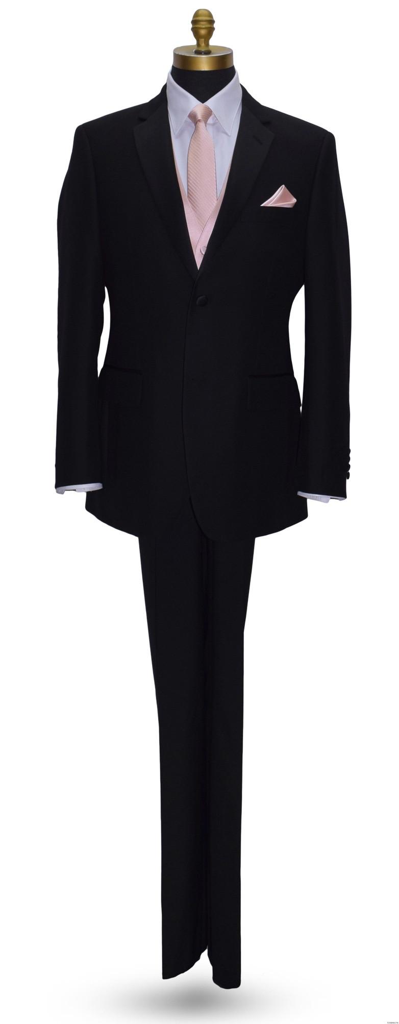 blush long tie and vest on black tuxedo at tuxbling.com