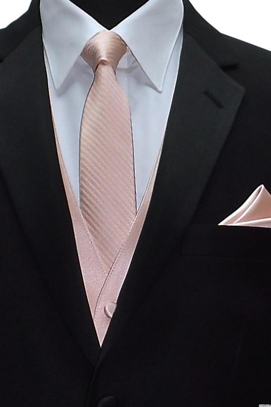 blush tuxedo vest with blush striped men's tie