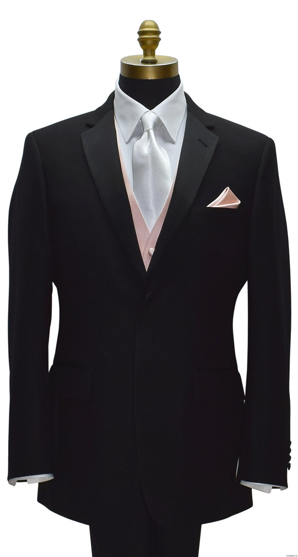blush pocket handkerchief with blush vest by San Miguel Formals